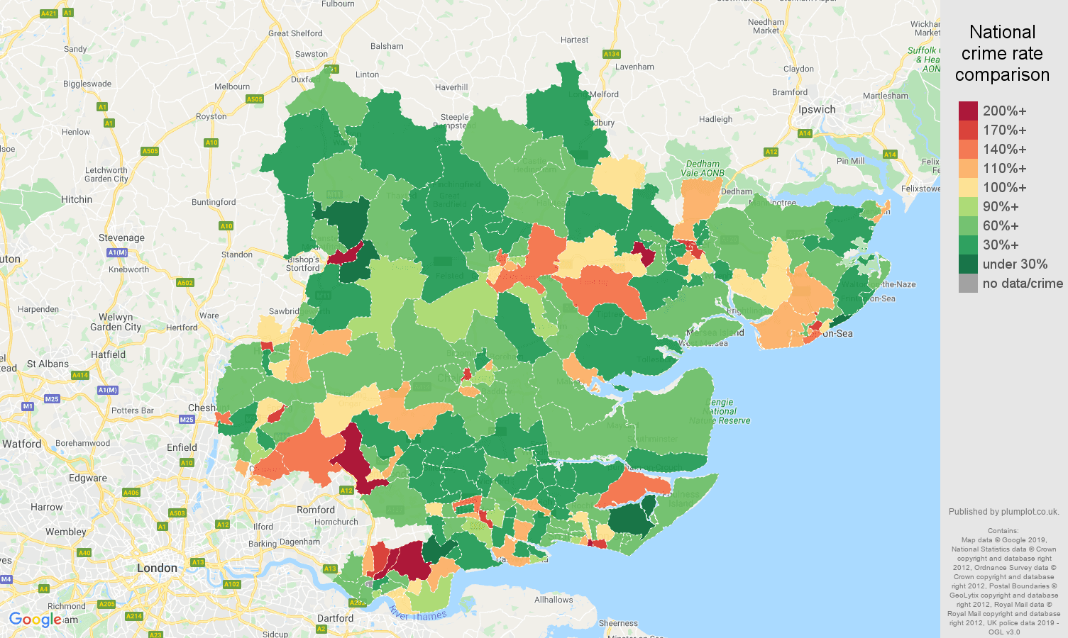 Essex other theft crime rate comparison map