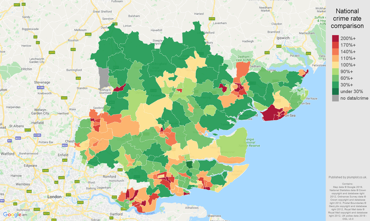 Essex public order crime rate comparison map