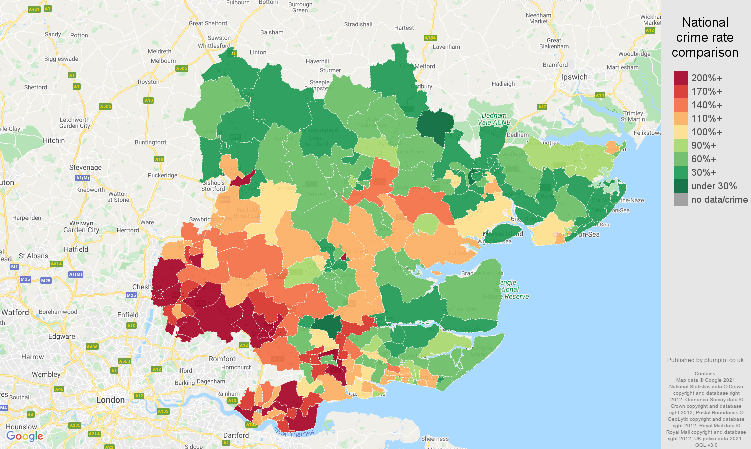 Essex vehicle crime rate comparison map