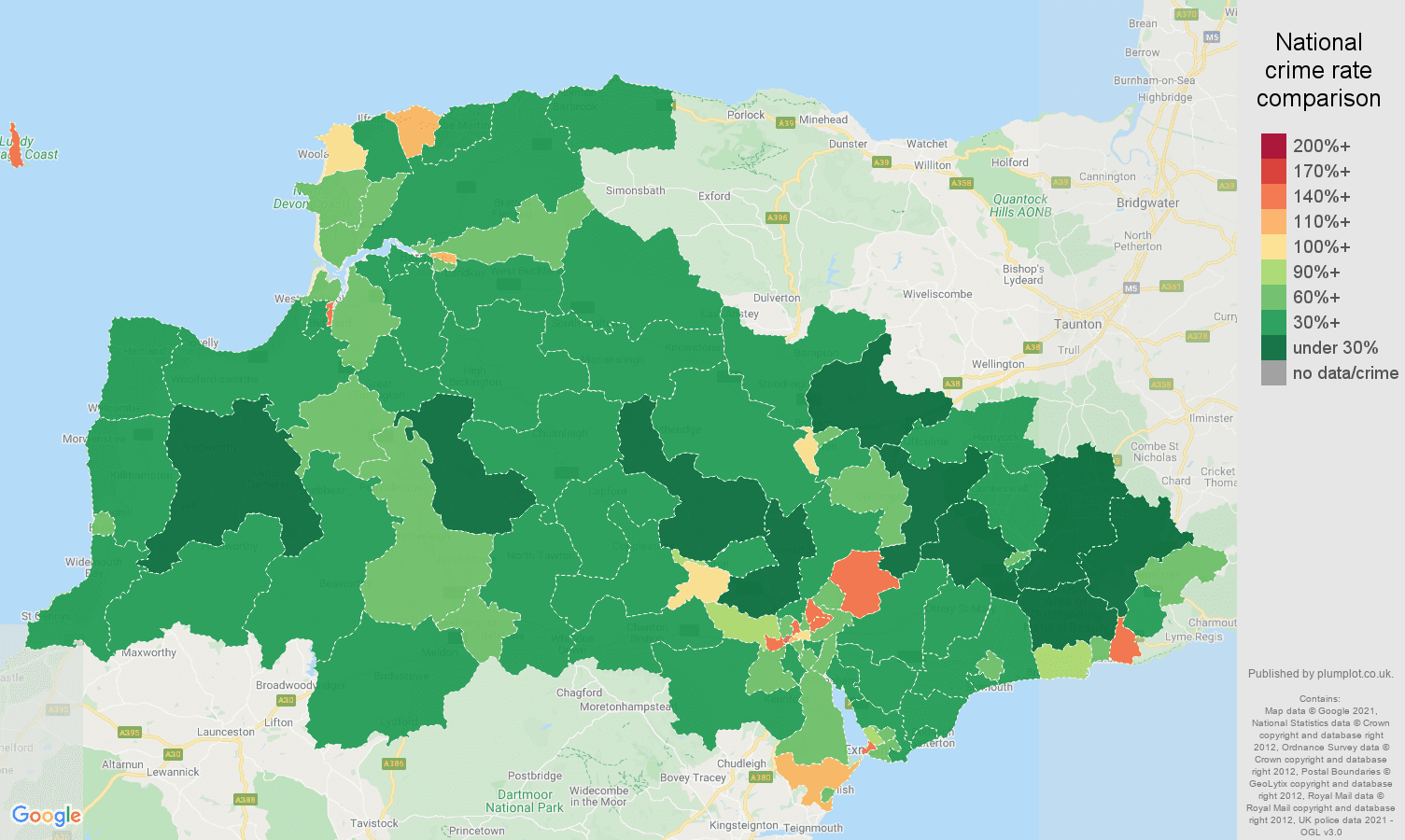 Exeter antisocial behaviour crime rate comparison map