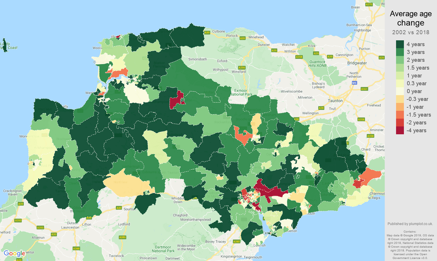 Exeter average age change map