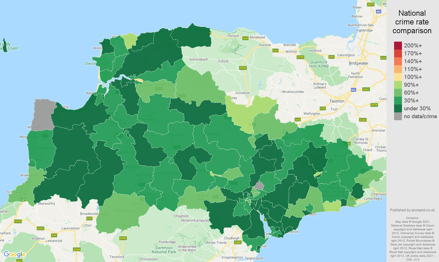 Exeter burglary crime rate comparison map