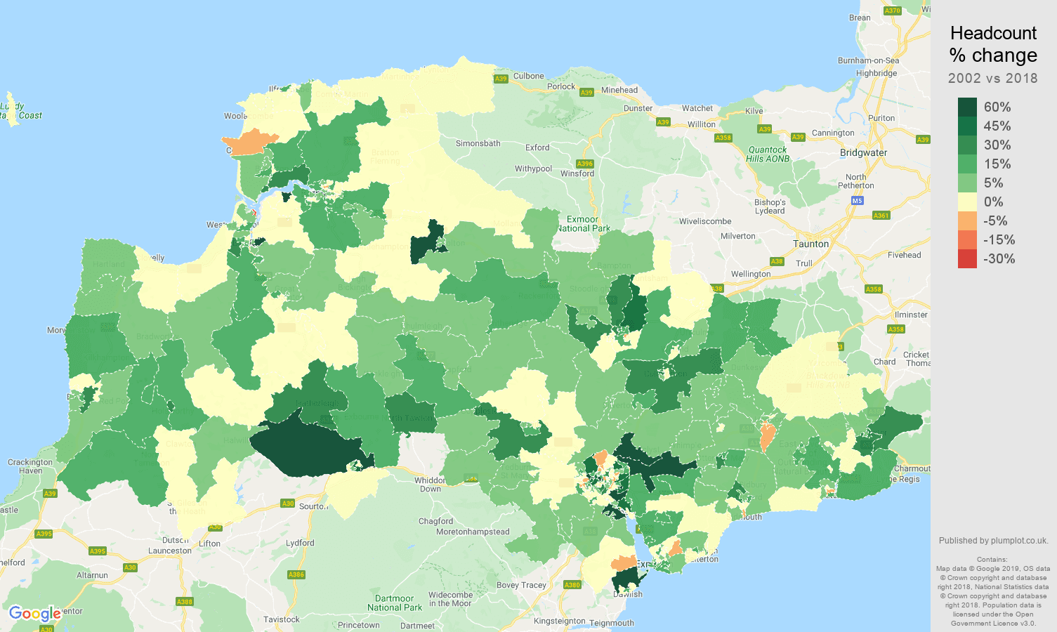Exeter headcount change map