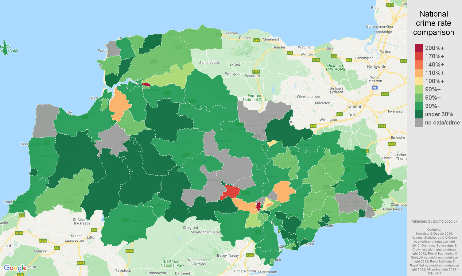 Exeter other crime rate comparison map