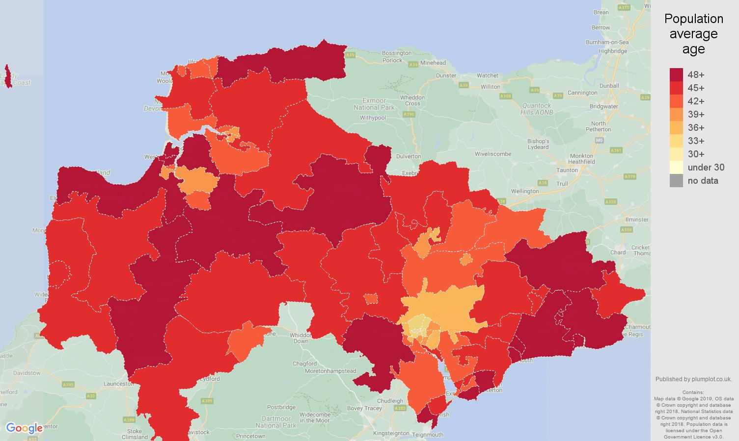 Exeter population average age map