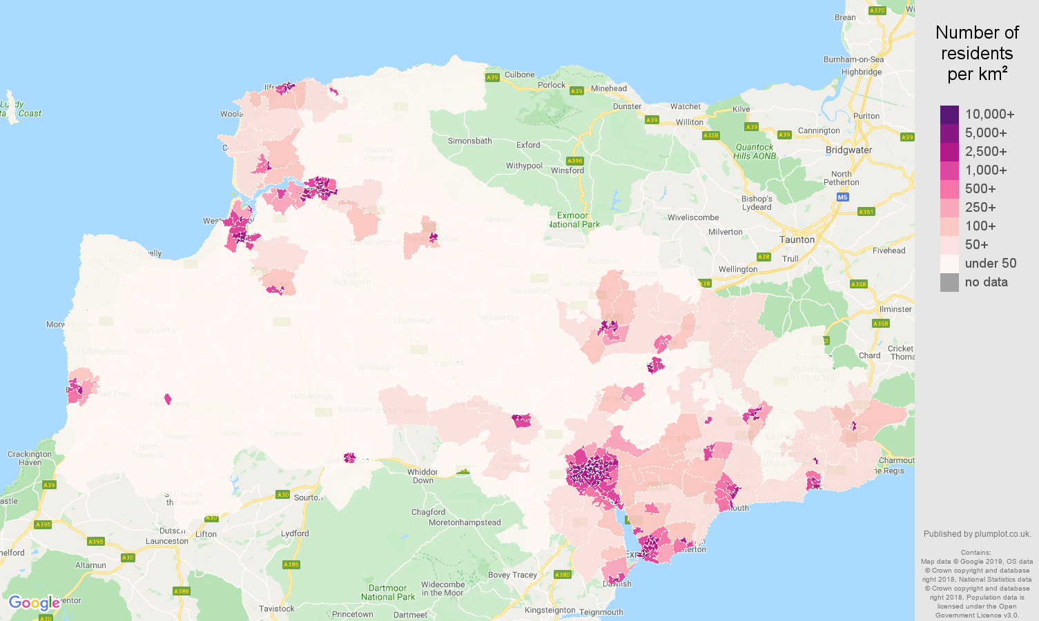 Exeter population stats in maps and graphs