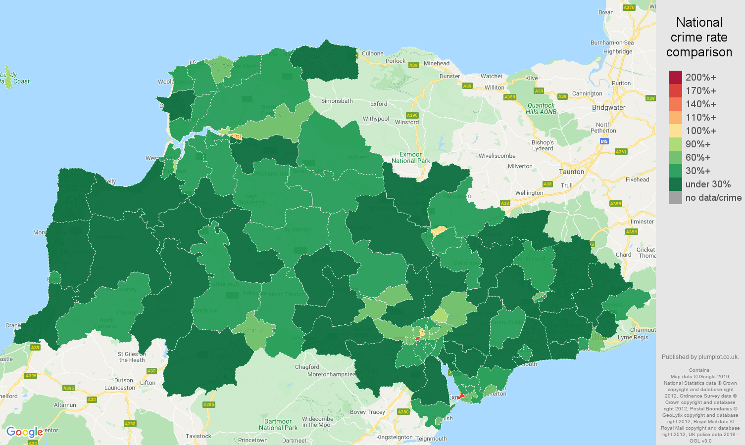 Exeter public order crime rate comparison map