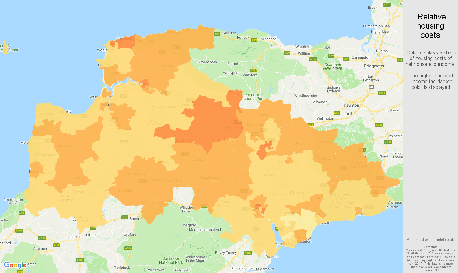 Exeter relative housing costs map