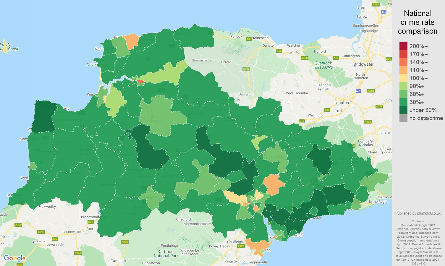 Exeter violent crime rate comparison map