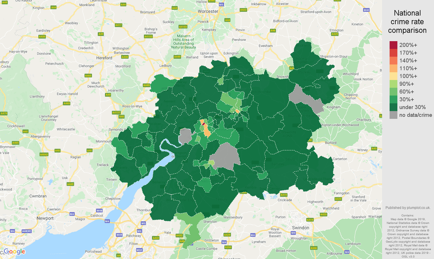 Gloucester public order crime rate comparison map