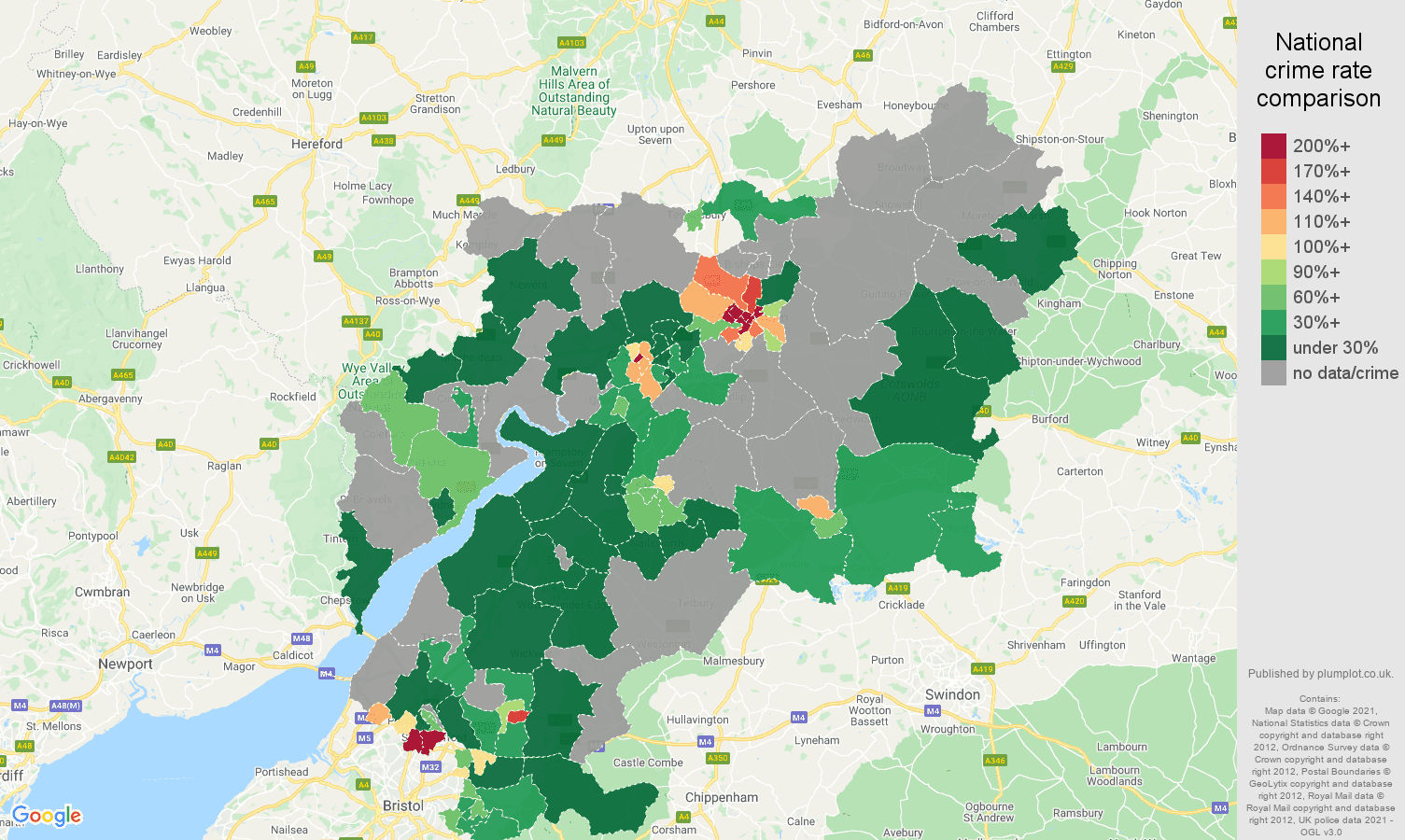 Gloucestershire bicycle theft crime rate comparison map