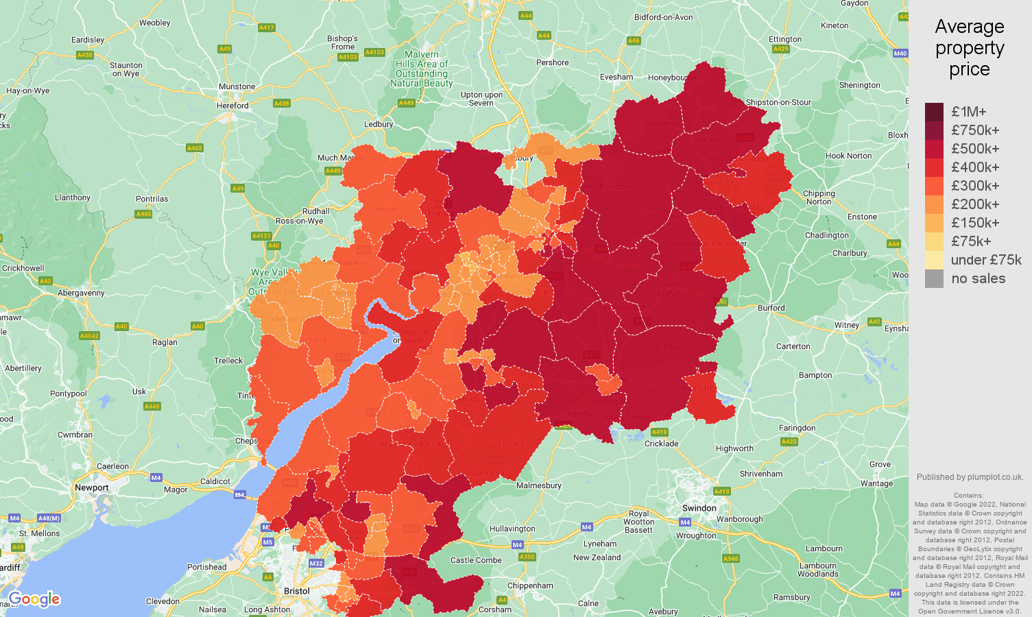 Gloucestershire house prices map