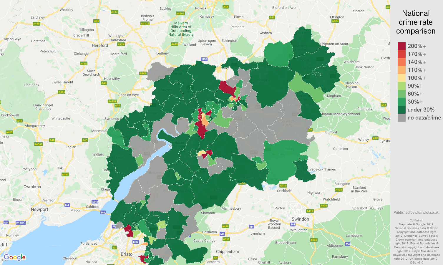 Gloucestershire shoplifting crime rate comparison map