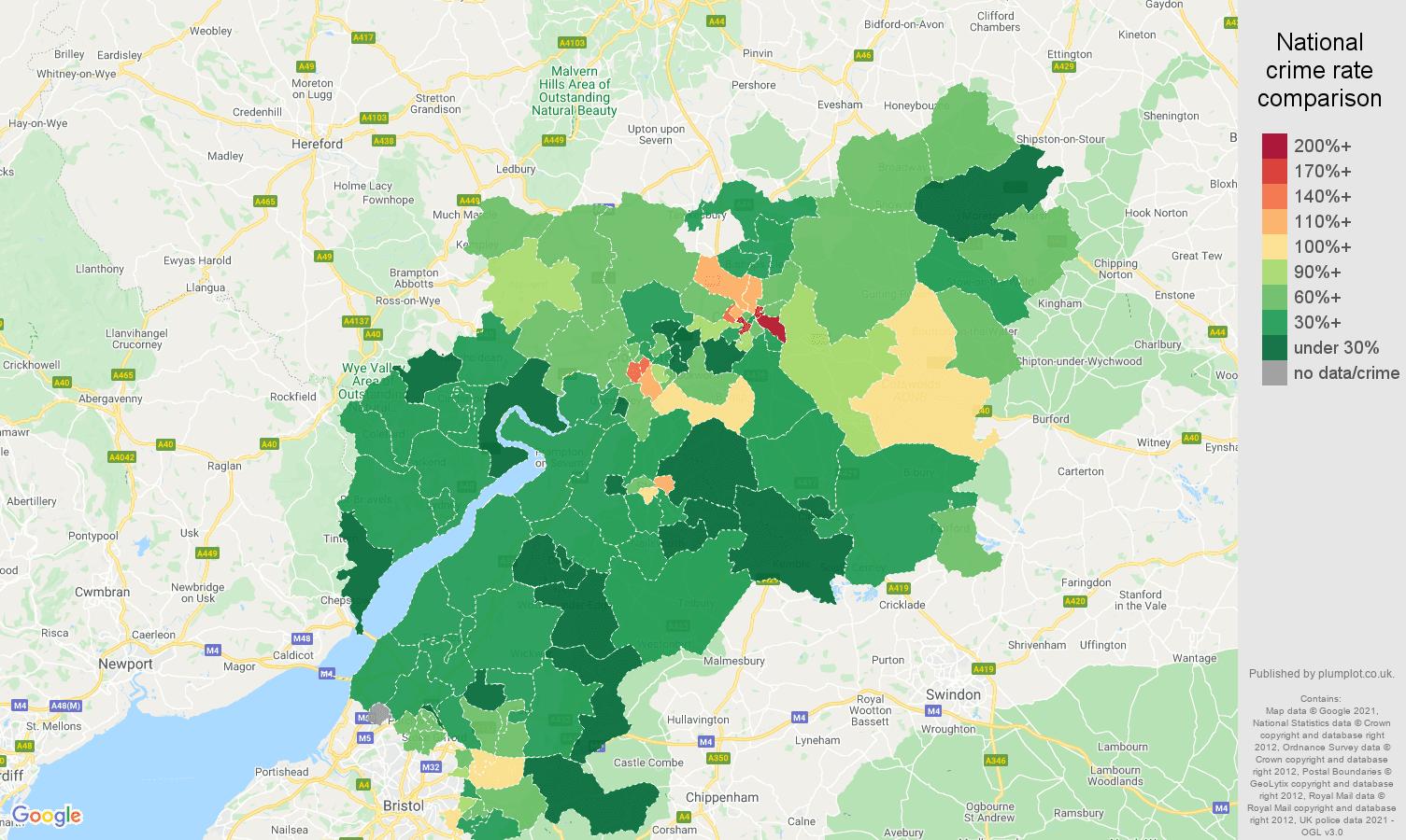 Gloucestershire vehicle crime rate comparison map
