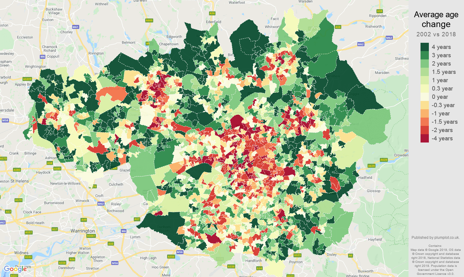 Greater Manchester average age change map