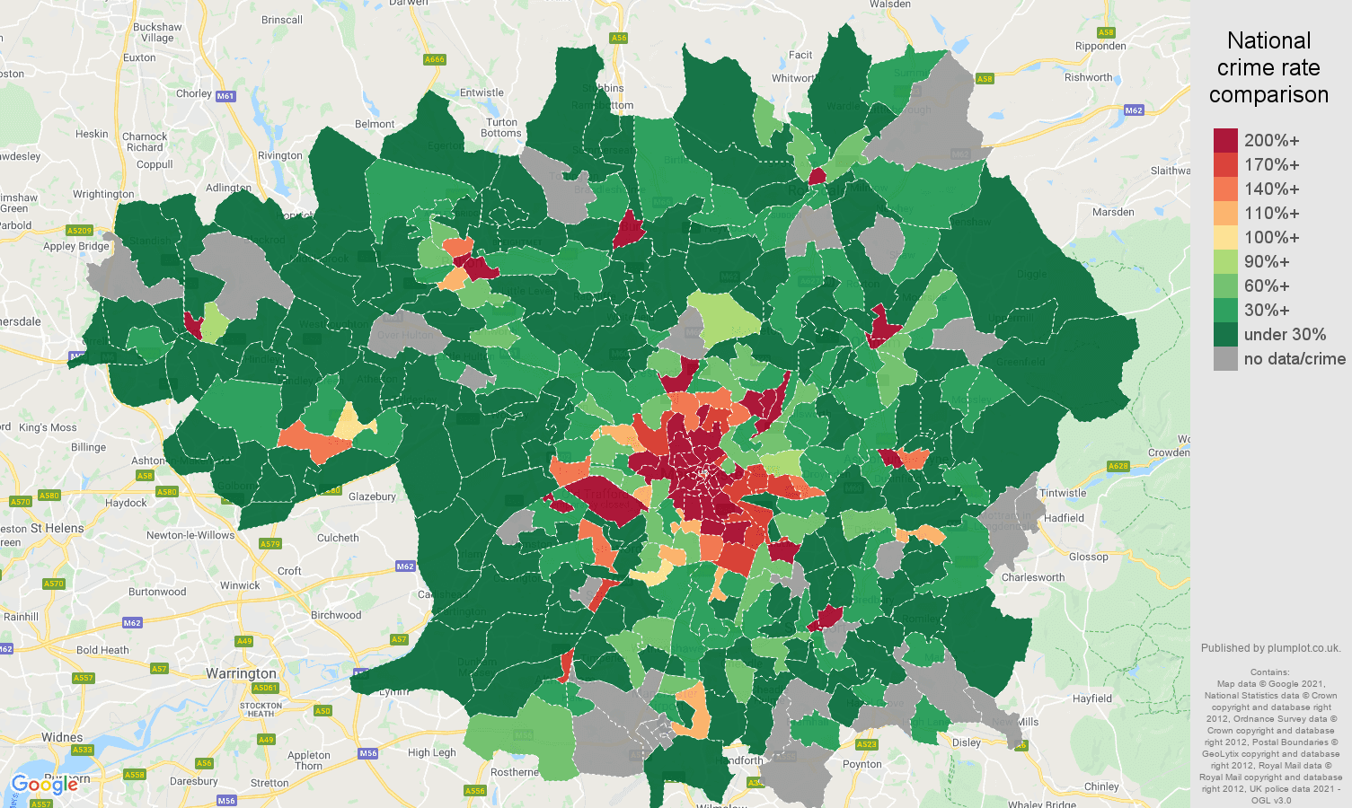 Greater Manchester theft from the person crime rate comparison map