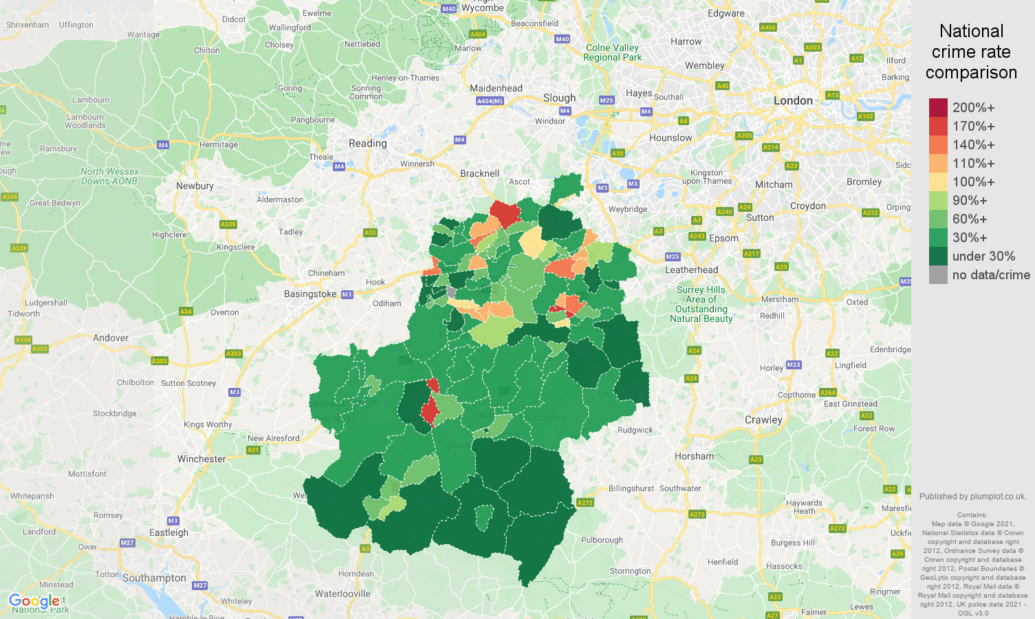 Guildford drugs crime rate comparison map
