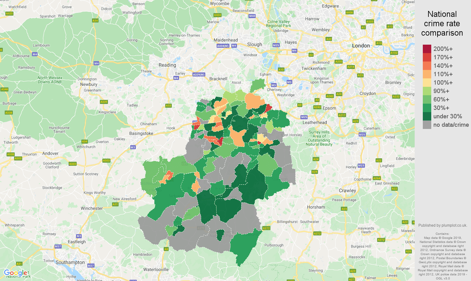 Guildford possession of weapons crime rate comparison map