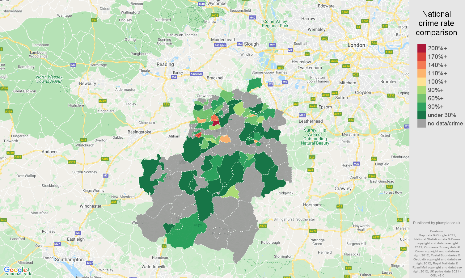 Guildford robbery crime rate comparison map