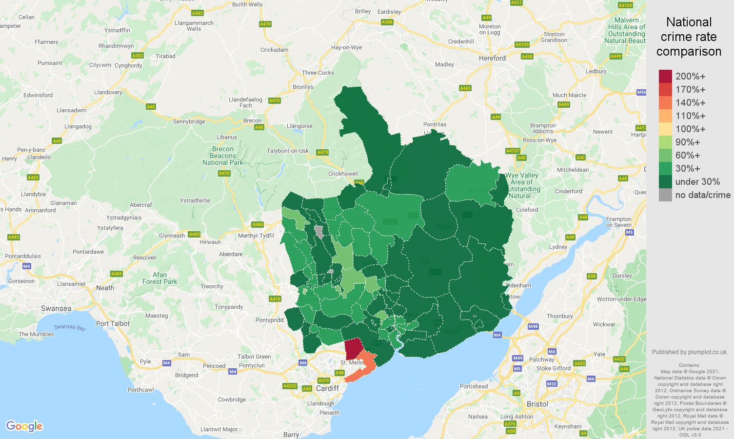 Gwent criminal damage and arson crime rate comparison map