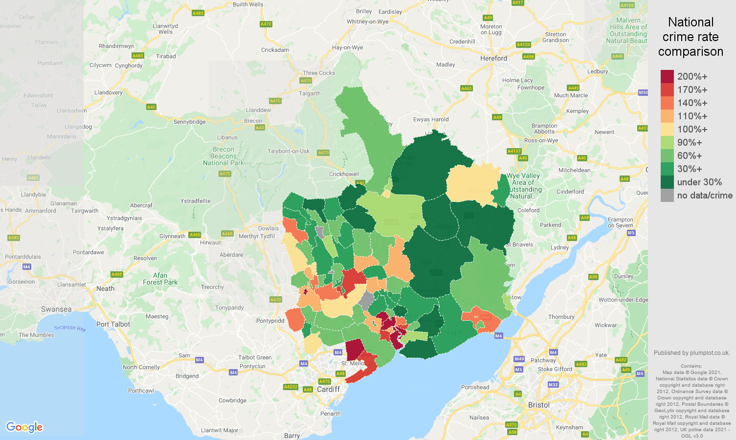 Gwent drugs crime rate comparison map