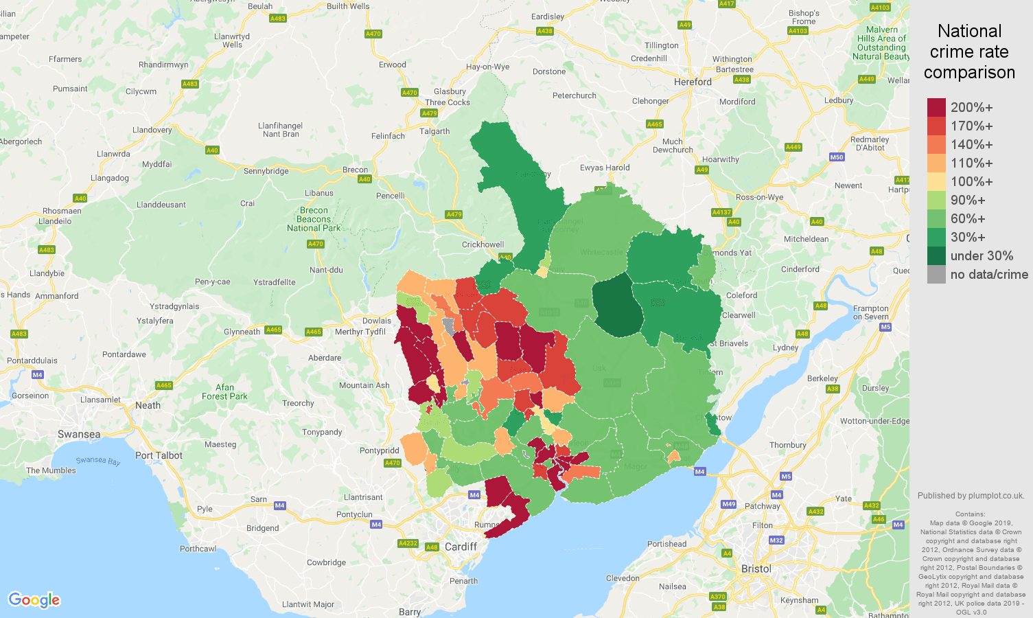 Gwent other crime rate comparison map