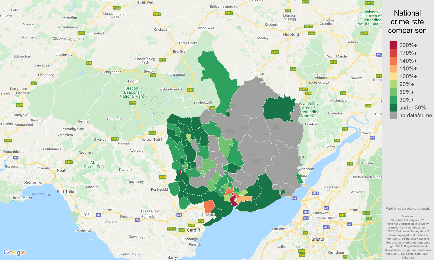 Gwent robbery crime rate comparison map