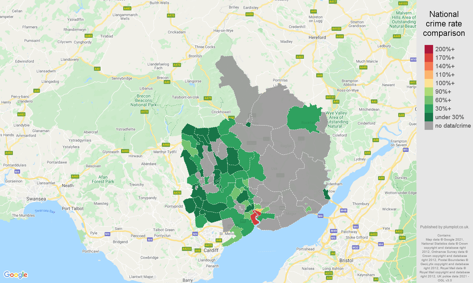Gwent theft from the person crime rate comparison map