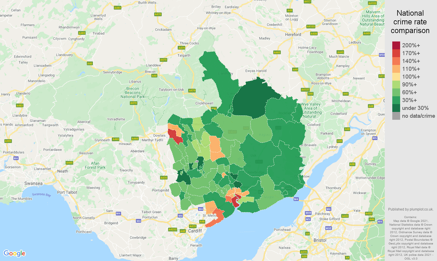 Gwent vehicle crime rate comparison map