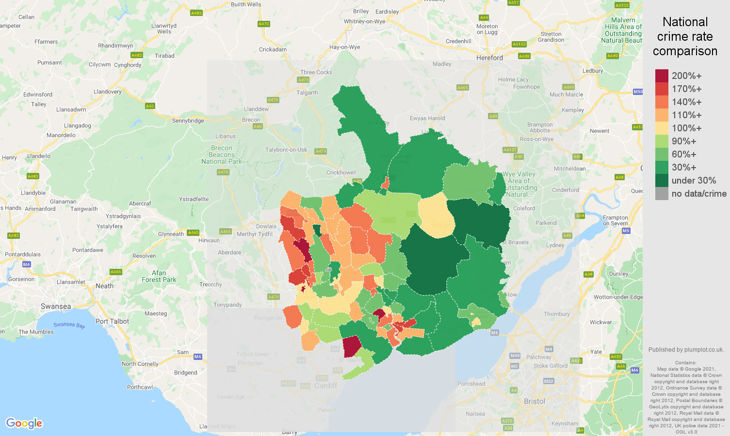 Gwent violent crime rate comparison map