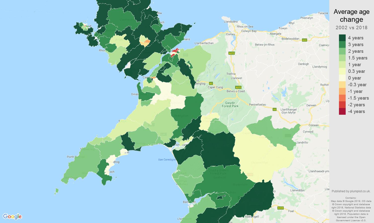 Gwynedd average age change map