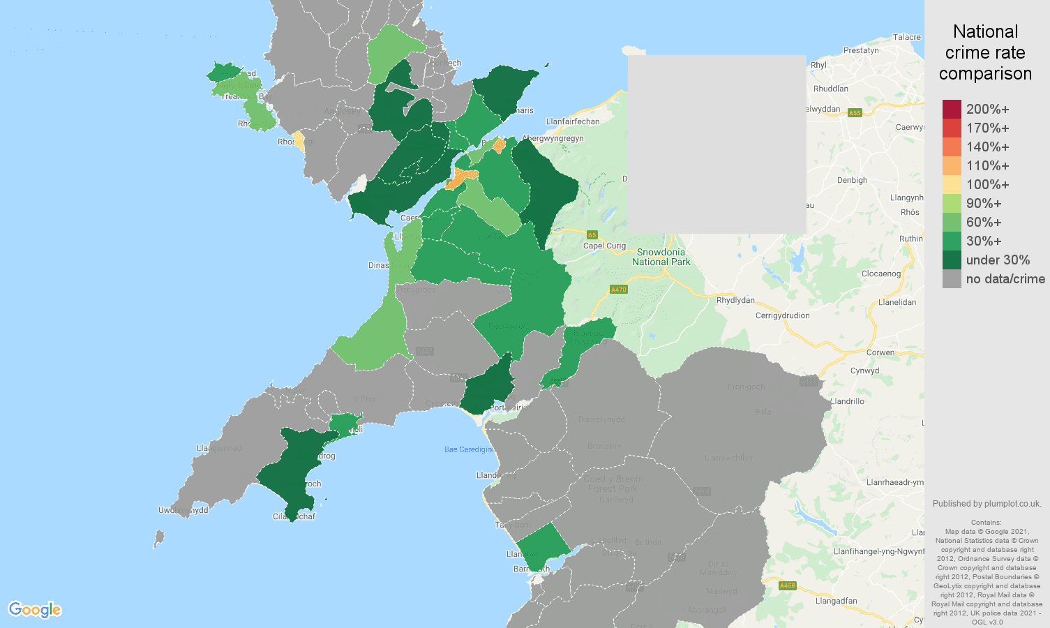 Gwynedd bicycle theft crime rate comparison map