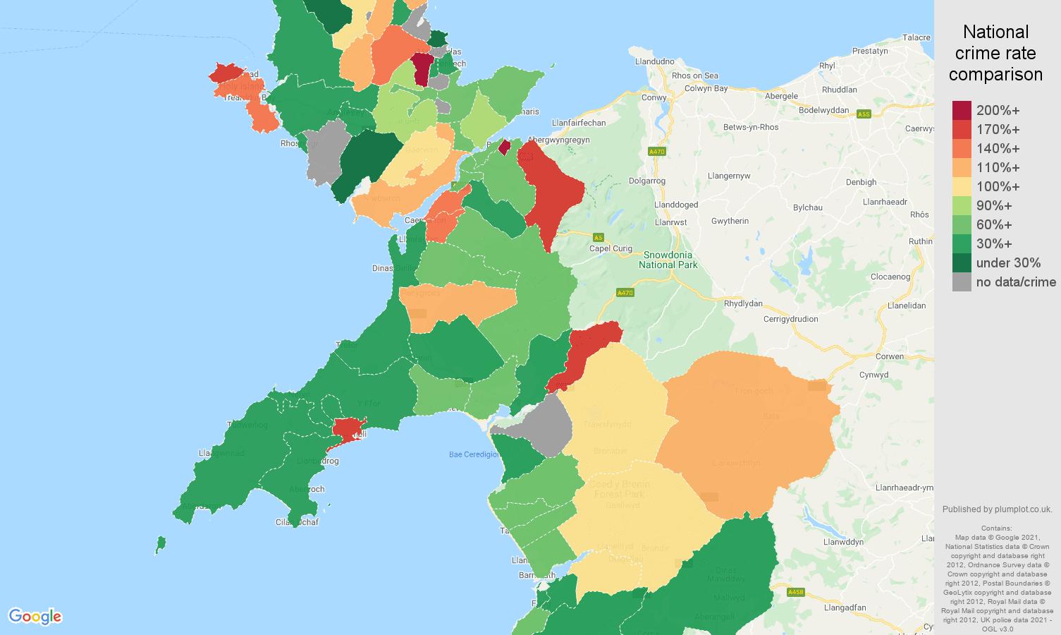 Gwynedd criminal damage and arson crime rate comparison map
