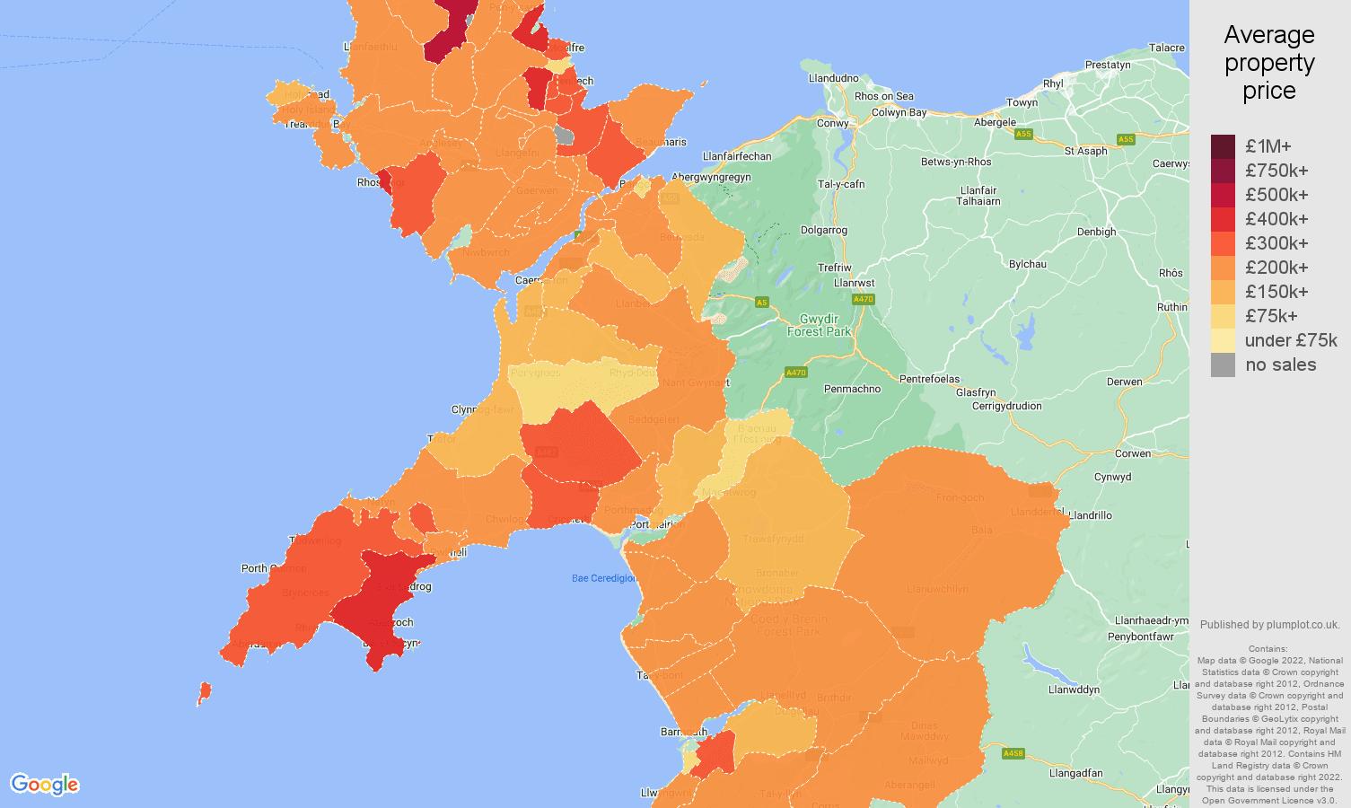 Gwynedd house prices map