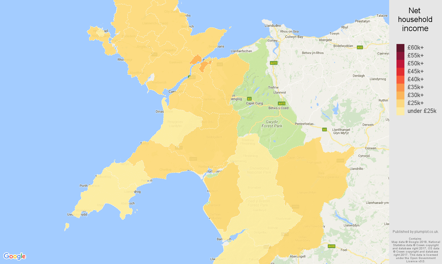 Gwynedd net household income map