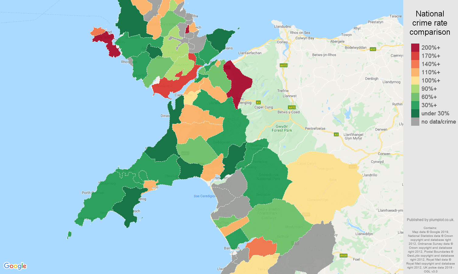 Gwynedd other crime rate comparison map