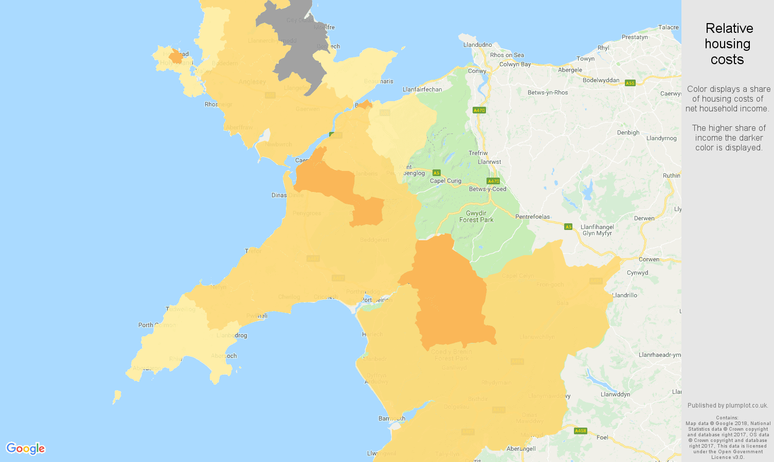 Gwynedd relative housing costs map