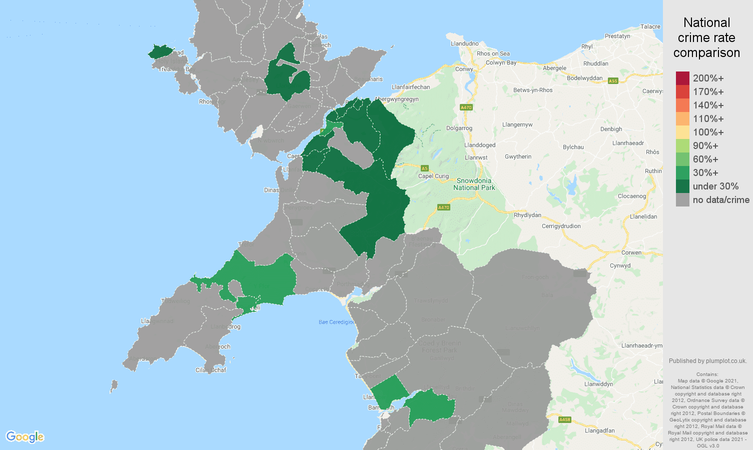 Gwynedd robbery crime rate comparison map