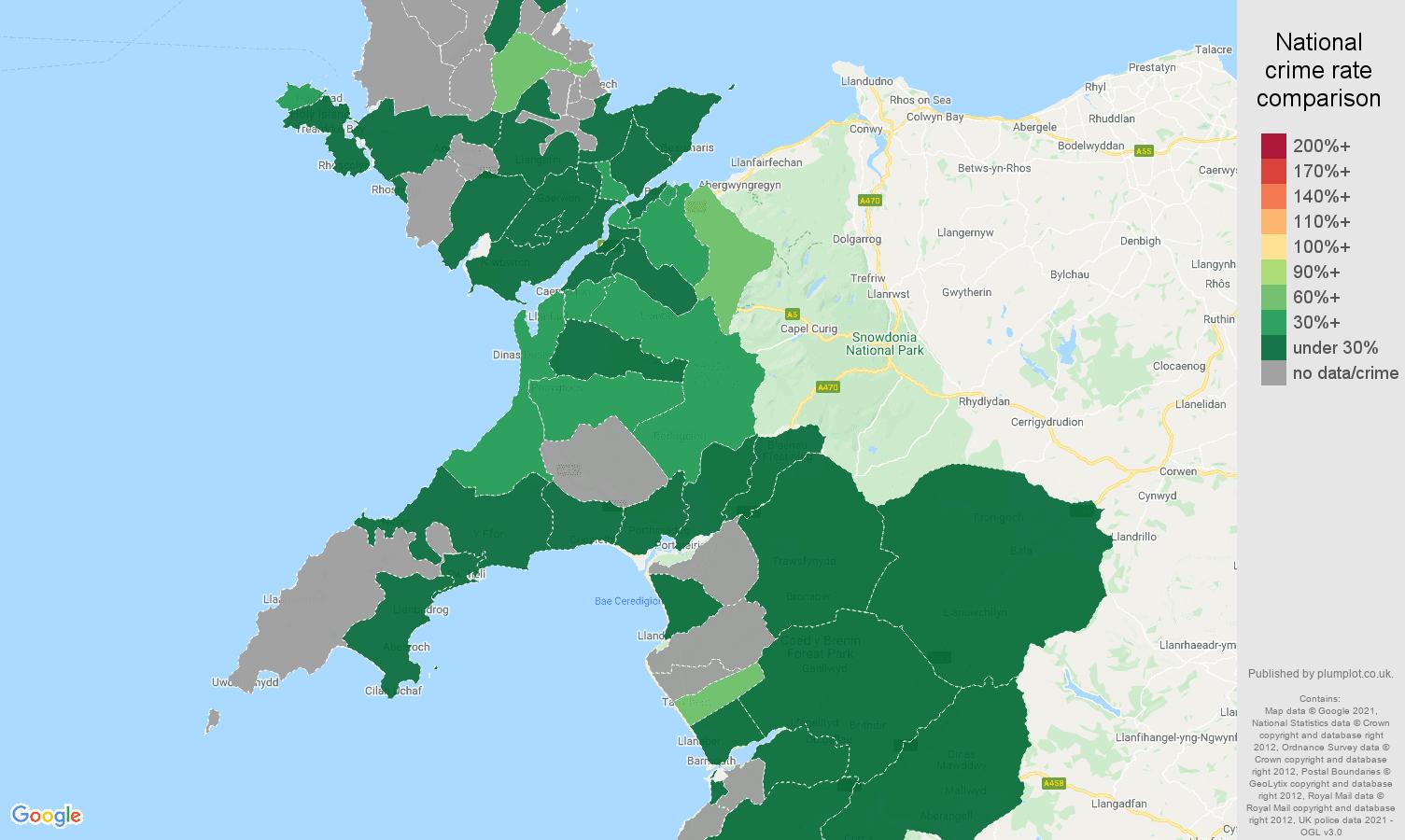 Gwynedd vehicle crime rate comparison map