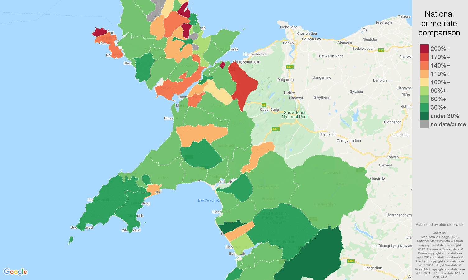 Gwynedd violent crime rate comparison map