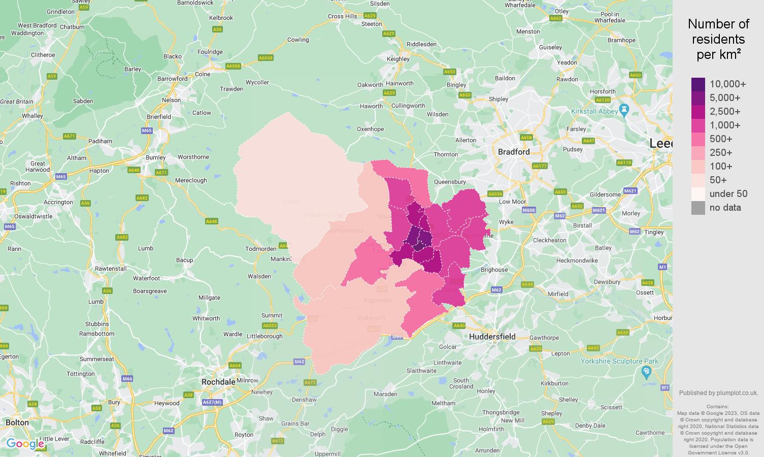 Halifax population density map