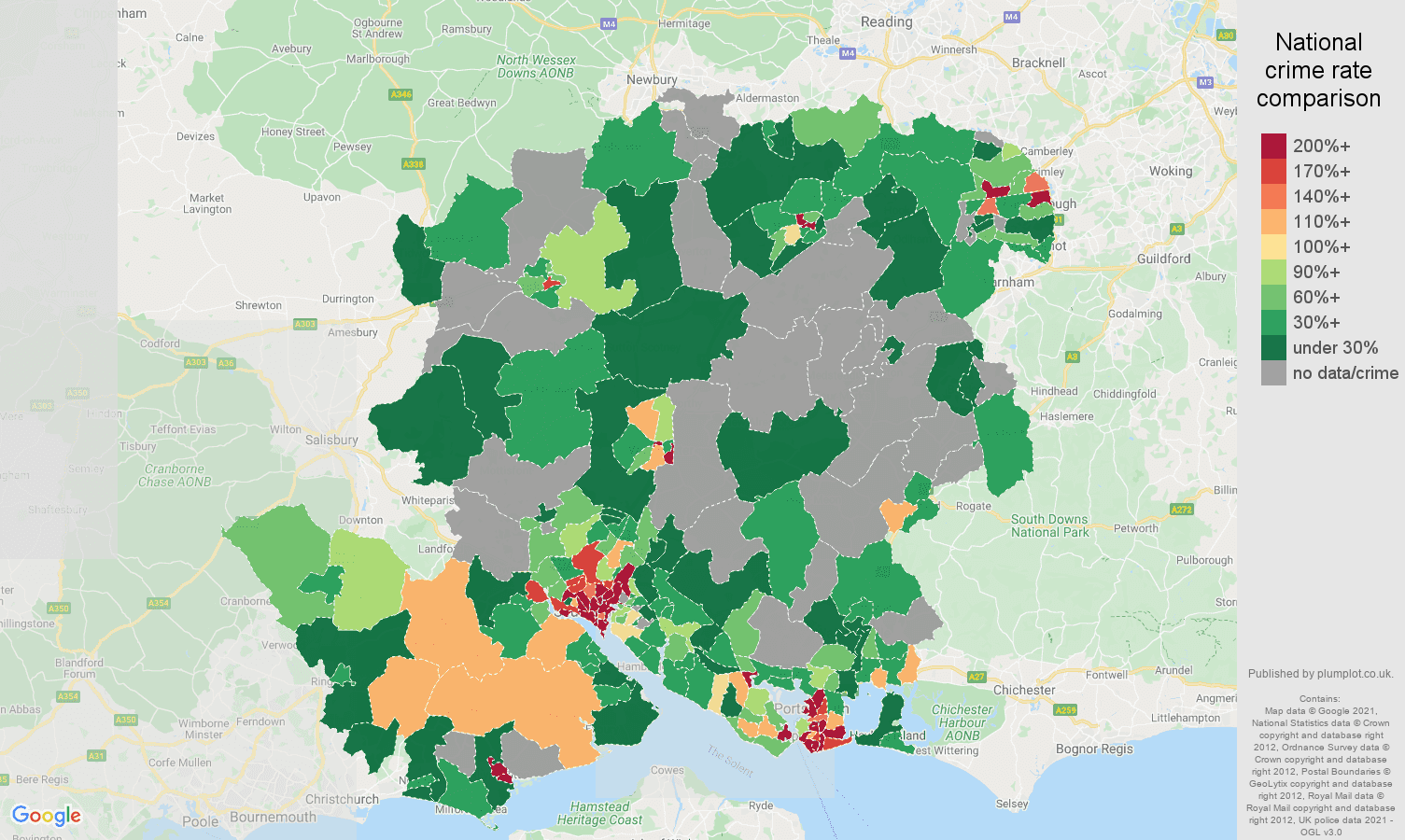 Hampshire bicycle theft crime rate comparison map