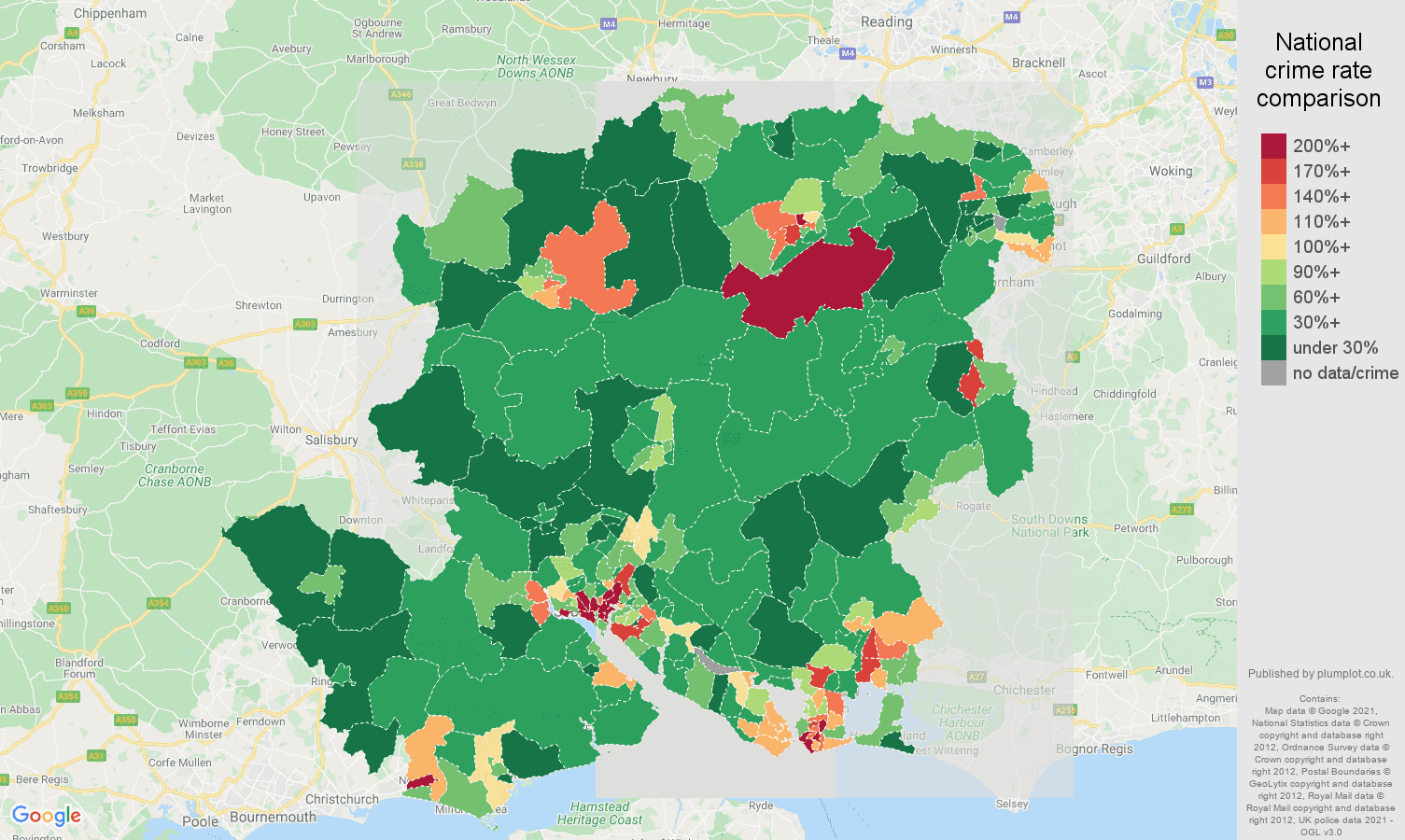 Hampshire drugs crime rate comparison map