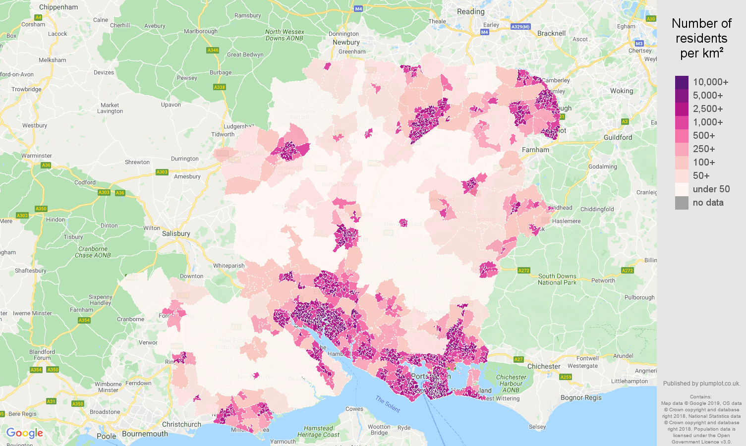 Hampshire population density map