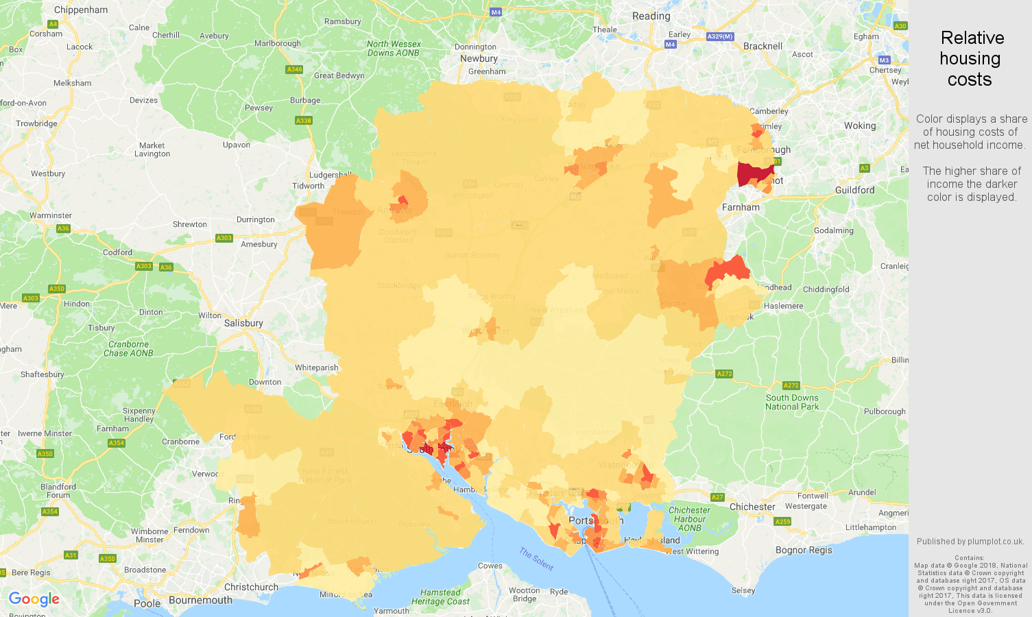 Hampshire relative housing costs map