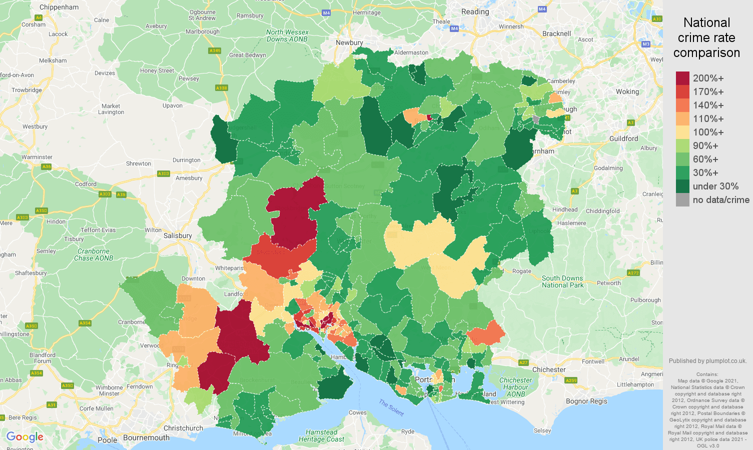 Hampshire vehicle crime rate comparison map