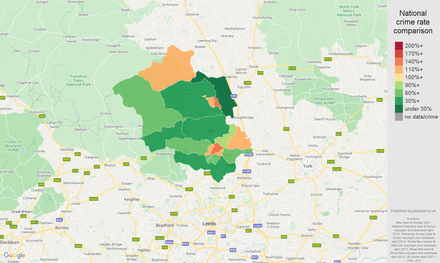 Harrogate antisocial behaviour crime rate comparison map