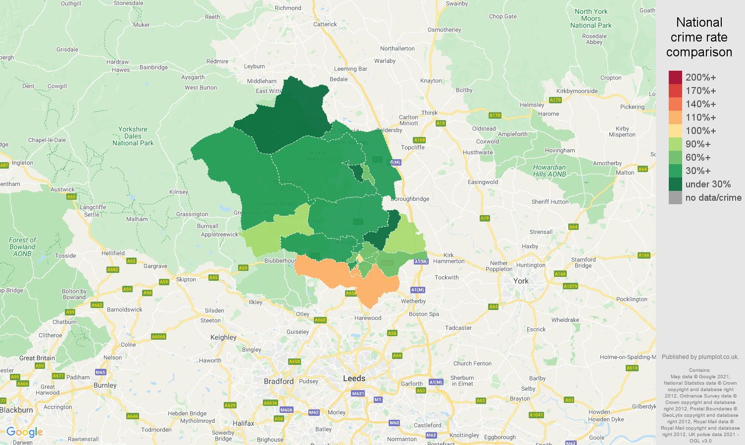 Harrogate burglary crime rate comparison map