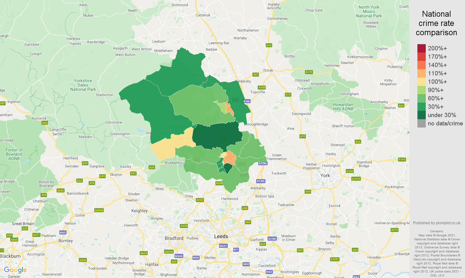 Harrogate criminal damage and arson crime rate comparison map
