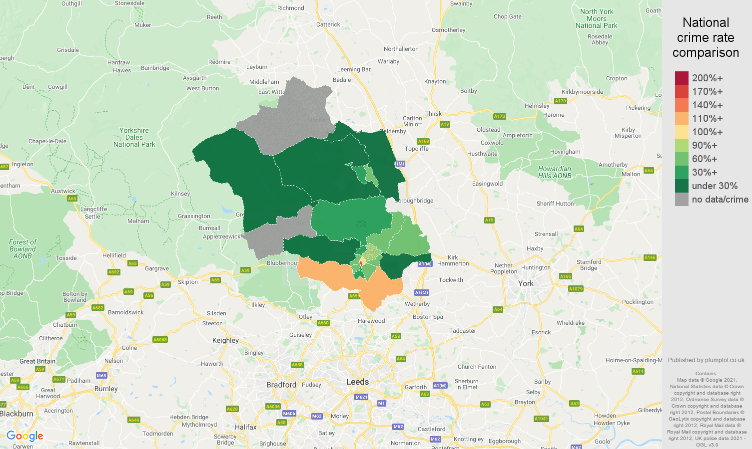 Harrogate drugs crime rate comparison map